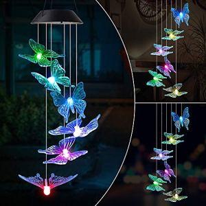 MMTX LED Lampe Carillon à Vent Solaire,Carillon Lumière Changeant Couleurs Spinner à spirale pour Jardin Patio Porch Mobile D'exterieur Ou Intérieur Décor Noël anniversaire Cadeau pour Fille Femme