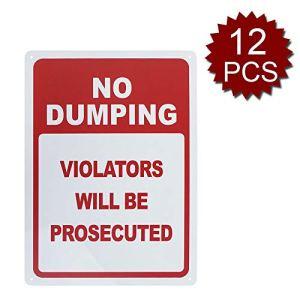 Panneau en Aluminium avec Inscription « No Dumping Violators Will Be Tedted », imprimé aux UV et résistant aux intempéries, 25,4 x 35,6 cm, No Dumping/12pcs, 10″ W x 14″ L