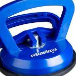 Relaxdays 10029465 Ventouse Lot de 2, Transport de vitres, Carreaux&plaques, capacité de Charge Jusqu'à 45 kg, Ø12 cm, Bleu