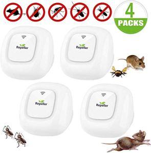 Répulsif Ultrason Anti Moustique,Anti-Rongeurs Insectes, Mini Répulsif à Ultrasons Répulsif, Électronique Anti Rats Souris Moustiques Coquerelle Mouches Cafards Fourmis Araignées(4 Paquets)