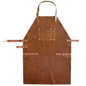 WQYH Tablier de Mode en Cuir Art Grill/Chef/Barbecue/Tatouage/Tablier de Peinture Brown