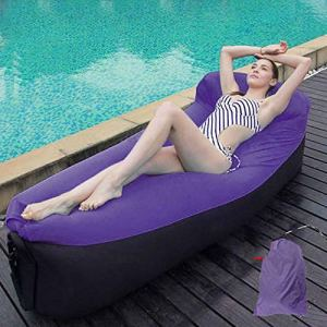 Yuanyuanliu Sacs Gonflables Canapé Lit Portable Air Gonflable Hamac Simple sans Camping en Plein Air Matelas d'air De Camping (Color : Purple)