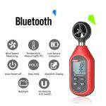Anémomètre numérique Bluetooth de Poche, Portable Vent Vitesse Compteur de température de l'air, avec rétroéclairage LCD pour l'extérieur Sports Météo Collecte de données Voile