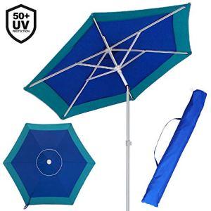 Bakaji Parasol de plage Plage Jardin avec poteau en acier inclinable Revêtement en tissu Anti UV Ø 210cm avec bandoulière Étui turquoise