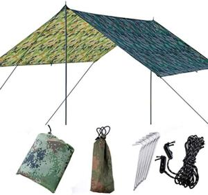 COUYY Camping Sun Shade Tarp, Tente Anti-UV Plage Pluie imperméable à l'eau légère hamac Fly Tente Tarp avec Sol Ongles et Corde pour la randonnée Pique-Nique Voyager extérieur