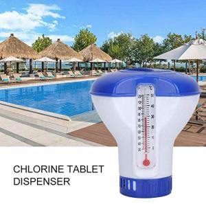 Ecisi Flotteur de comprimé de Chlore, Distributeur Flottant de Produits Chimiques pour Piscine de 5 Pouces avec thermomètre pour Spa Spa intérieur Outdor