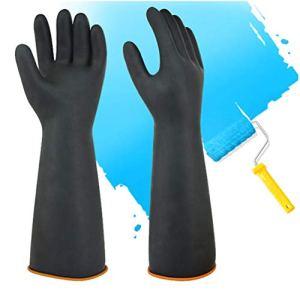 Gants en latex résistant aux produits chimiques en caoutchouc PPE Gants de protection en caoutchouc à gantelets longs, gants résistants noirs de 14 «, résistant à l'acide fort, alcali et huile 1 paire
