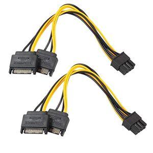 iloving 2 Pièces Double 15Pin SATA Mâle à PCIe 8Pin (6 + 2) Mâle PCI Express PCI-E Adaptateur De Répartiteur De Carte Vidéo Câble d'alimentation