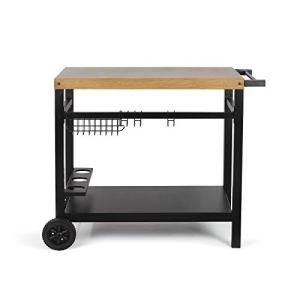 LIVOO – gs131 – Chariot pour plancha Noir/Bois