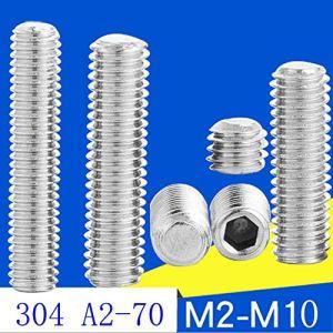 Lot de 20 vis sans tête DIN 913 M3 M4 M5 6 8 10 16 20 mm en acier inoxydable 304 A2 à bout plat à six pans creux sans tête
