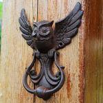 Lumpur Poignée de porte décorative en forme de chouette pour abri de jardin Durable Café robuste Installation Vis en fonte Vintage amovible