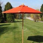 Parasol de jardin en bois de superbe qualité – 2m de large – Proposé en 8couleurs (ici de couleur terre cuite)