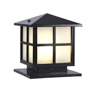 Pilier Lampe Applique Murale Lampadaire Jardin Zone Murale Carrée Colonne Lampe Extérieur Étanche Villa Porte Jardin Lumière (Color : Black, Size : 40 * 52cm)