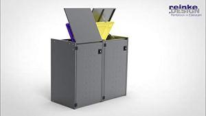 Reinkedesign Boxxi Boîte de rangement pour poubelles avec toit en acier galvanisé Anthracite RAL 7016 2 x 240l