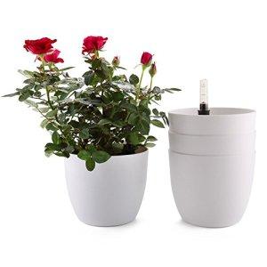 T4U Bac à Fleurs Auto-Irrigation Blanc 18.5 * 16cm en Plastique Rond Lot de 4, Pot avec Réserve d'eau et Indicateur de Niveau d'eau Pot avec système d'arrosage