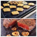 Tapis de Barbecue, Cuisson Mats, Feuilles de BBQ Anti-adhérent, Réutilisable Nettoyable, pour Fours assistés/Charbon de Bois/Gaz/Grill électrique/Cuisson (Verre-2, Noir)
