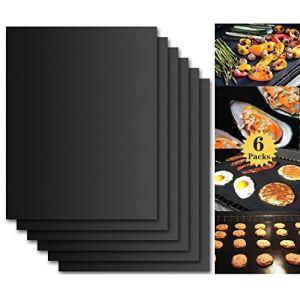 Tapis de Cuisson Barbecue, Set de 6 Feuille de Cuisson pour Barbecue et Four – 40*33 cm Anti-adhérent de BBQ et Feuilles de Cuisson réutilisable pour les barbecue à gaz, Charbon ou électriques