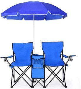 WYFDM Double Pique-Nique Pliante Chaises W/Parasol Patio Piscine Parc Extérieur Chaise De Camping Portable (Bleu W/Umbrella)