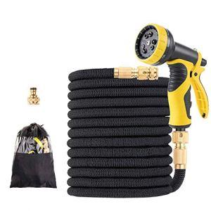 15-100 FT Tape Tuyau d'arrosage Goutte à Goutte Système d'irrigation Expandable Flexible d'arrosage Magique Tuyaux avec Robinet connecteur Car Wash Buse (Color : Black, Lengh : 100FT)