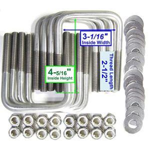 (8) en acier inoxydable carré en U. Bateau Remorque U Bolt Ubolt 1/5,1cm D X 31/40,6cm L x 45/40,6cm L
