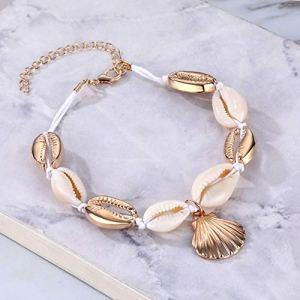 ASIG Bracelet de cheville bohème vintage avec chaîne en corde pour femme, plage et coquillage de mer