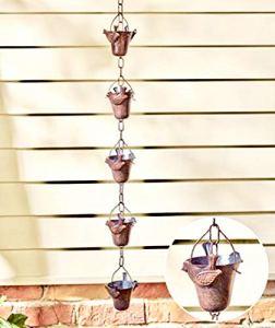 Bird fer pluie Chaînes Motif classique–Transport de style japonais d'eau de pluie à partir de temple de toit TOPS au niveau du sol