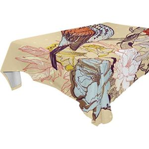 DXG1 Nappe rectangulaire en forme de roses et d'oiseau 152 x 274 cm