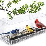 Fenêtre Mangeoire Avec Une Forte Ventouse Seed Plateau Easy Clean Mangeoires Extérieur Pour Finch Cardinal Et Blue Jay,Clear
