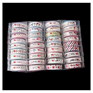 Hibeilinq 1 Box (APRX 36 Rolls) Ruban coton main bricolage Craft ruban satin ruban double-face for Emballage cadeau Artisanat Emballage cousu main avec le mariage et fêtes cheveux bande auto-adhésives