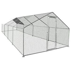 IDMarket – Enclos poulailler 24M² Parc grillagé 8X3M Acier galvanisé