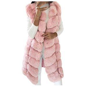 JXQ-N Femmes Fausse Fourrure Doux Gilet sans Manches Chaud Gilet Body Warmer Veste Manteau Outwear Manteau Longue Veste