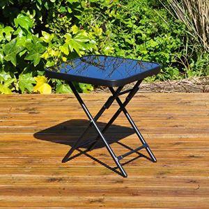 Kingfisher FSDT Table d'appoint Pliante pour Le Jardin ou la terrasse Noir