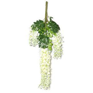 LHY- Faux Fleur 12 bâtons de Simulé Wisteria Toit Plafond Violet Ornements Fleurs en Plastique Suspendus Fleurs Plantes de Plafond Hanging intérieur Mode (Color : Milky White)