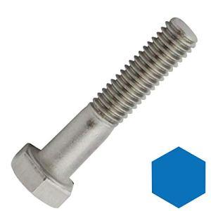Lot de 4 vis à tête hexagonale avec tige DIN 931 / ISO 4014 en acier inoxydable A2 (V2A)
