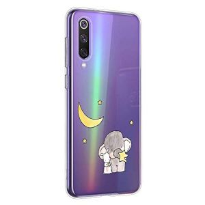 Oihxse Compatible pour Silicone XiaomiMi105G Coque Crystal Transparente TPU Ultra Fine Souple Housse avec Motif [Elephant Lapin] Anti-Rayures Protection Etui (A6)