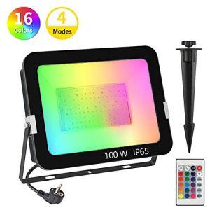 Projecteur LED RGB Exterieur 100W, T-SUNRISE Spot LED Extérieur de Jardin 16 Couleurs 4 Modes avec Télécommande Etanche IP65 Pour Arbre Soirée Bar Fête