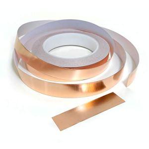 Rouleau de ruban adhésif anti limaces et escargots en cuivre 5 mm, 10 mm, 20 mm x 25 m Ruban adhésif en cuivre pour limaces et escargots 20mm (W) x 25m (L)
