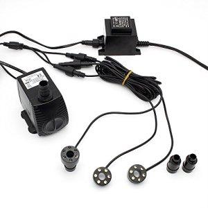 Speed Pompe de fontaine avec Anneau à LED 3 xBlanc Bague LED éclairage 1500L/H