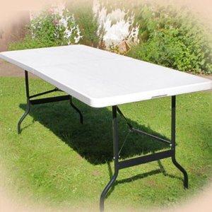 Table de buffet pliable en plastique Blanc 76 x 183 cm