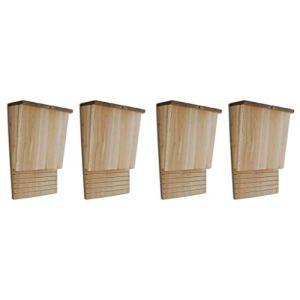 VidaXL Lot de 4 maisons de chauve-souris en bois 21,8 x 11,4 x 35,6 cm