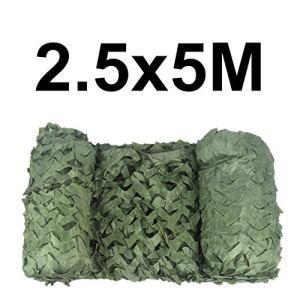 WZL Filet de camouflage renforcé Vert armée 2,5 m pour la chasse, le jardin, la tonnelle, le rideau d'ombrage, le filet de 2,5 x 5 m