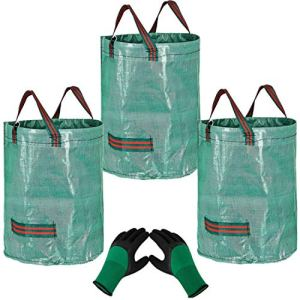 YAAVAAW 3x272L Sacs de Jardin avec 1 Paire de Gants de Jardinage-Réutilisable Sacs de Déchets de Jardin,Autoportante et Pliable-Sacs Poubelle pour les Déchets de Jardin Feuillage de Pelouse Vert Coupe