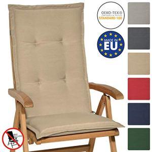 Beautissu Matelas Coussin pour chaise fauteuil de jardin terrasse Loft HL 120x50x6cm – dossier haut – Nature