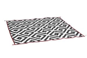 Bo-Camp Urban Outdoor Urban Outdoor Tapis de piqnique Picnic-2×1,8 Mètre, Blanc/Noir/Rouge