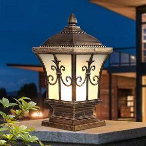 Continental Victoria Rétro LED Lampe de table extérieure Villa étanche Balcon Fermer Lampe à colonne Lampe de bureau Lampe en verre en aluminium E27 Décoration Lampes de jardin Lampe Pelouse