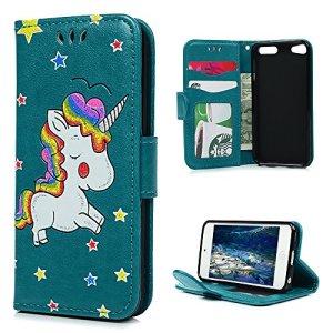 Coque iPod Touch 5 Etui Protecteur en Cuir PU avec TPU Silicone Housse avec Stand Support et Carte de Crédit Slot Licorne d'Impression – Bleu