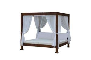 ESTRUCMADER Lit balinois avec lit de 2 x 2 m, noyer-blanc