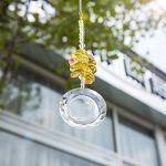 H&D HYALINE & DORA Attrape-soleil rond en cristal avec gravure de lune à suspendre à la main en verre Prisme