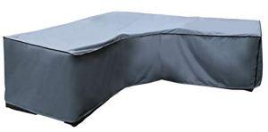 Housse de protection Canapé d'Angle | 300 x 300 x 90 x 60/90 cm (L x L x H) | Gris | Résistant à L'eau | SORARA | Polyester & Revêtement PU | Pour Jardin, Terrasse, Meubles | Qualité