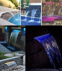Lame d'eau Cascade en Acrylique Largeur 30cm / avec LEDs intégrées/Télécommande et Coffret transformateur